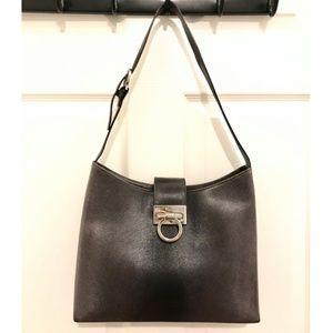 Ferragamo Black.Grey Ombré Leather Shoulder Bag